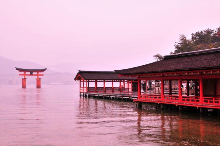 朝方に雨が降り始め、満潮時に神社から眺めた鳥居。